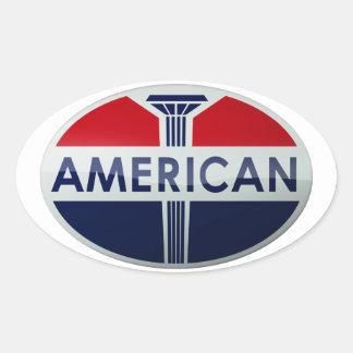 American Gas Station vintage sign crystal version Oval Sticker