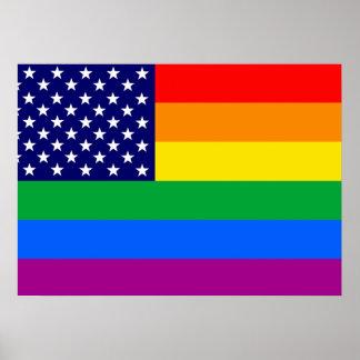 American Gay Pride Flag - Gaymerican Pride Flag Poster