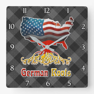 American German Roots Square Wall Clock