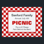"American Gingham Family Event, Picnic, Farm Market Sign<br><div class=""desc"">This colorful red and white sign suits family reunions,  farmers markets and any country event.  Traditionally American tablecloth style red and white checks.</div>"