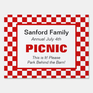 American Gingham Family Event, Picnic, Farm Market Lawn Signs