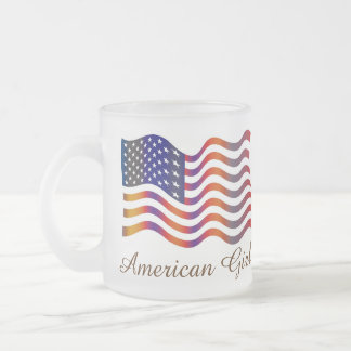 American Girl American USA Flag Tatoo Mug Taza De Café Esmerilada