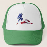 """American Girl Hat<br><div class=""""desc"""">Our unique USA Girl on our JD Green hat.</div>"""