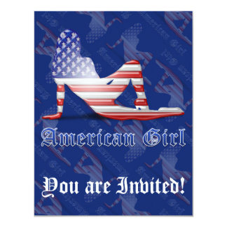 American Girl Silhouette Flag 4.25x5.5 Paper Invitation Card