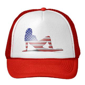 American Girl Silhouette Flag Mesh Hat