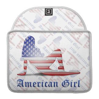 American Girl Silhouette Flag MacBook Pro Sleeves