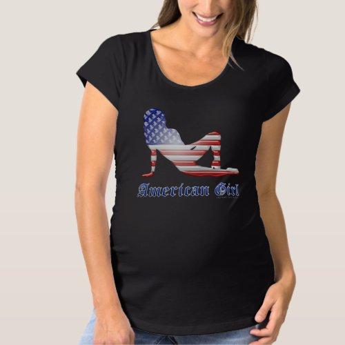 American Girl Silhouette Flag Maternity T-Shirt