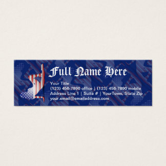 American Girl Silhouette Flag Mini Business Card