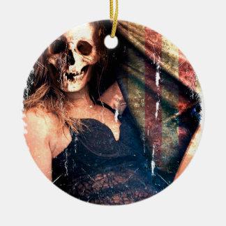 American Girl Skull Skeleton Creepy Ceramic Ornament