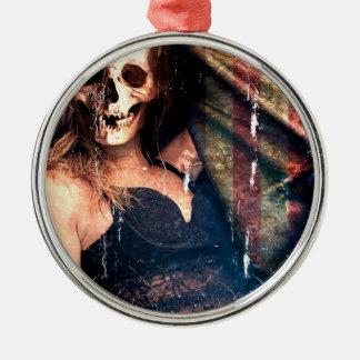 American Girl Skull Skeleton Creepy Metal Ornament