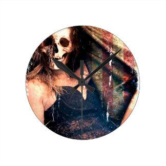 American Girl Skull Skeleton Creepy Round Clock