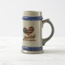 American God Shed His Grace On Thee Patriotic Beer Stein