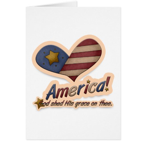 American God Shed His Grace On Thee Patriotic Stationery Note Card