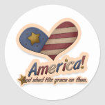 American God Shed His Grace On Thee Patriotic Classic Round Sticker
