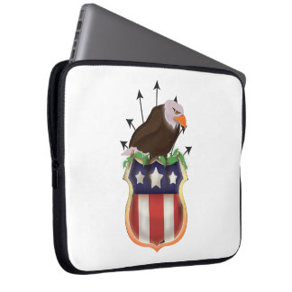 American Golden Eagle Stars and Stripes Flag Laptop Sleeve