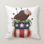 American Golden Eagle Stars and Stripes Flag Throw Pillows