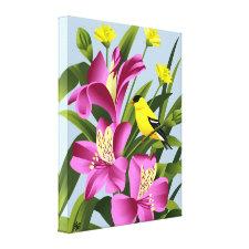 American Goldfinch and Alstroemeria Flower Art Canvas Print