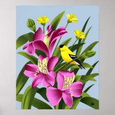 American Goldfinch and Alstroemeria Flower Art Poster