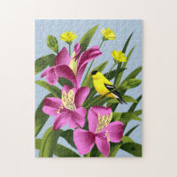 American Goldfinch and Alstroemeria Flower Art Puzzle