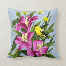 American Goldfinch and Alstroemeria Flowers Throw Pillows