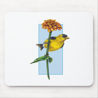 American Goldfinch and Zinnia flower Mouse Pad