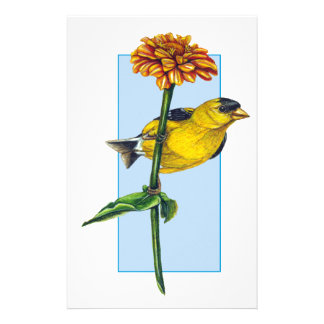 American Goldfinch and Zinnia flower Stationery