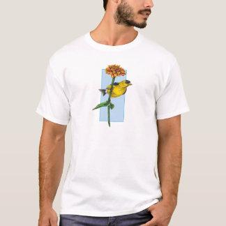 American Goldfinch and Zinnia flower T-Shirt