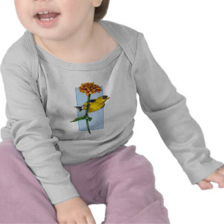 American Goldfinch and Zinnia flower T-shirt