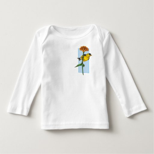American Goldfinch and Zinnia flower Tee Shirt