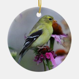 American goldfinch - female ceramic ornament