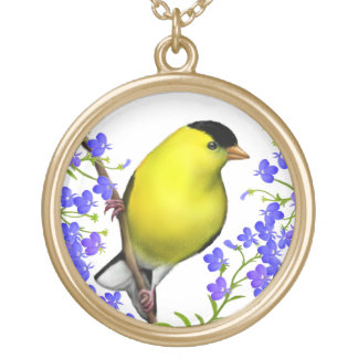 American Goldfinch in Lobelia Flowers Necklace