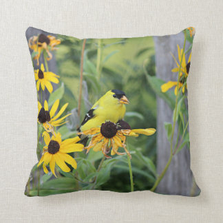American goldfinch in the black-eyed susans throw pillow