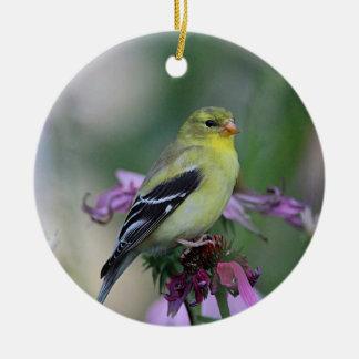 American goldfinch in the garden ceramic ornament