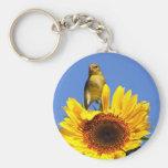American Goldfinch on Sunflower Basic Round Button Keychain