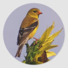 American Goldfinch on Sunflower Classic Round Sticker