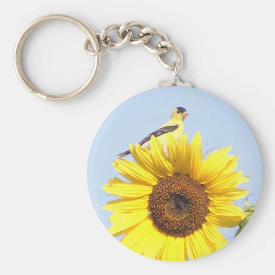 American Goldfinch on Sunflower Keychain