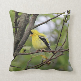 American goldfinch perched in a tree throw pillow