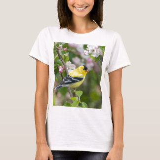 American Goldfinch with spring apple blossoms T-Shirt