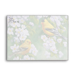 American Goldfinches and Pink Apple Blossoms Envelopes