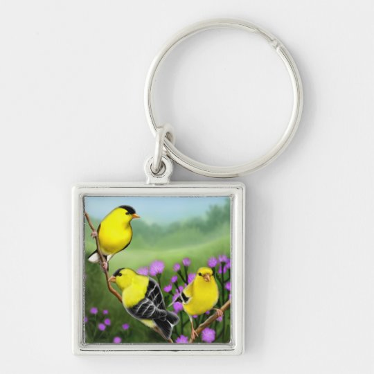 American Goldfinches on Thistles Keychain