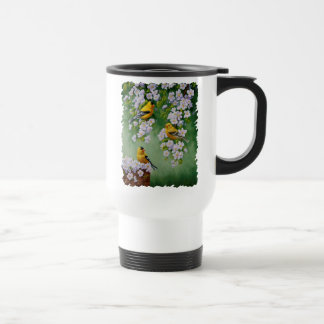 American Goldfinches & Pink Apple Blossoms 15 Oz Stainless Steel Travel Mug