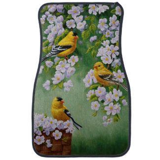 American Goldfinches & Pink Apple Blossoms Car Floor Mat