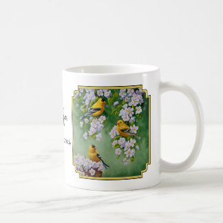 American Goldfinches & Pink Apple Blossoms Coffee Mug