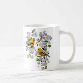 American Goldfinches & Pink Apple Blossoms Basic White Mug