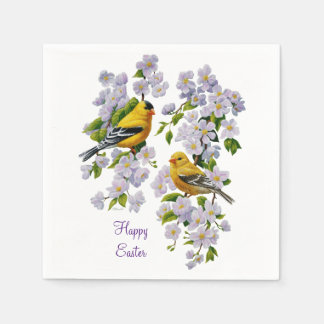 American Goldfinches & Pink Apple Blossoms Standard Cocktail Napkin