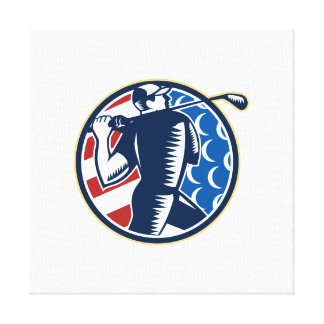 American Golfer Tee Off Golf Retro Stretched Canvas Print