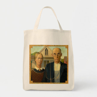 american gothic grocery tote bag
