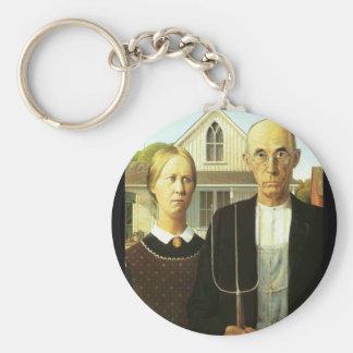 American Gothic Basic Round Button Keychain