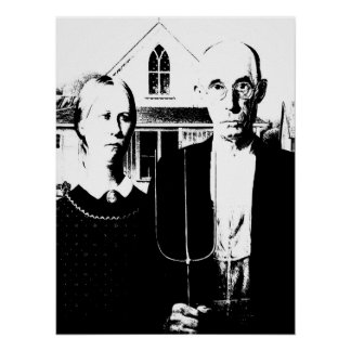 American Gothic Black and White Poster
