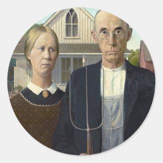 American Gothic by Grant DeVolson Wood Classic Round Sticker